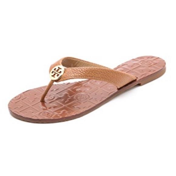 3fe653f8e Tory Burch Thora Tumbled Tan Leather Thong Sandals.  M 5c5518793c9844aa39655402